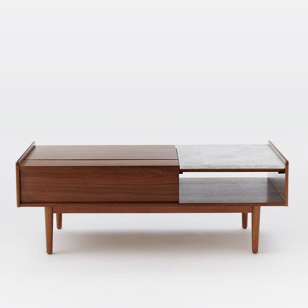 Mid century pop up storage coffee table west elm uk for Mid century modern coffee table