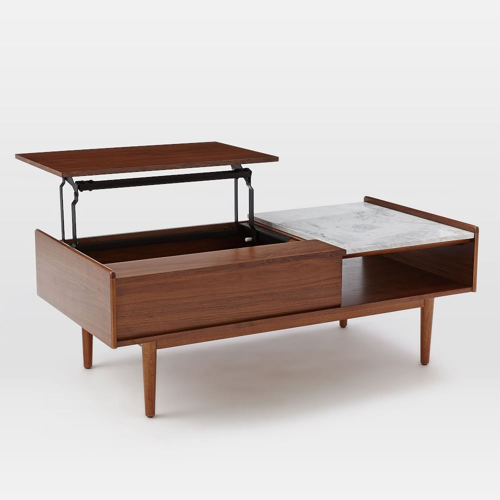 Black Coffee Table With Storage Uk: Mid-Century Pop-Up Storage Coffee Table