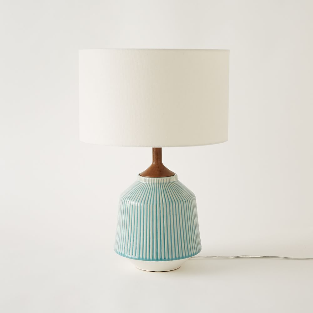 Roar rabbit ripple ceramic table lamp turquoise west elm uk roar rabbit ripple ceramic table lamp turquoise mozeypictures Choice Image
