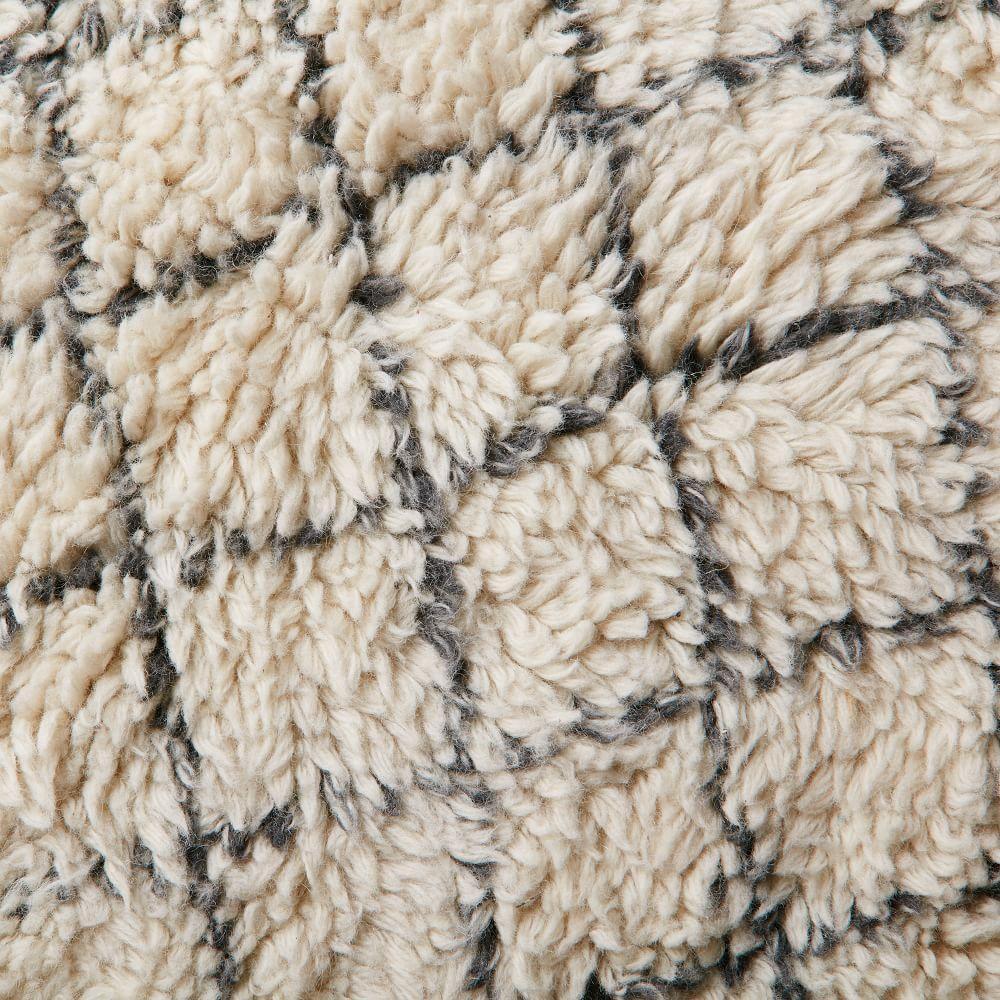 Watercolour Trellis Wool Shag Rug - Ivory