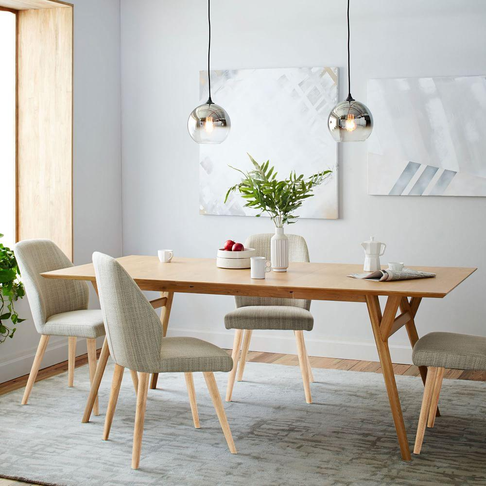 Contemporary Dining Room Table: Mid-Century Expandable Dining Table
