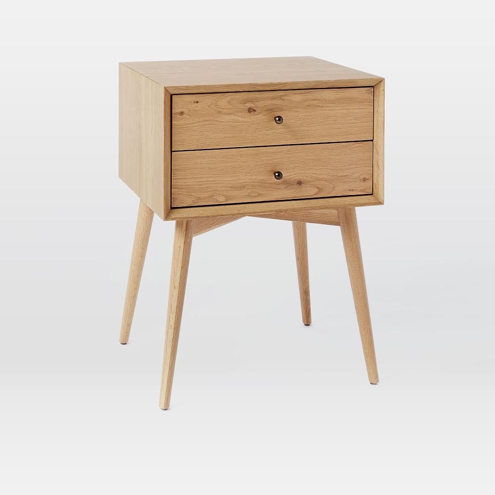 Mid century bedside table natural oak west elm uk - Bedside table ...