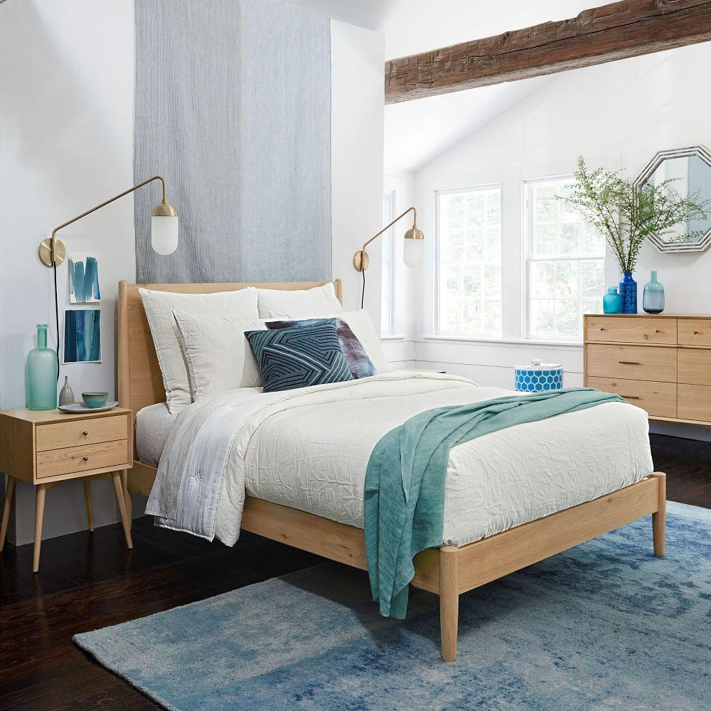 Mid Century Bed Natural Oak West Elm Uk