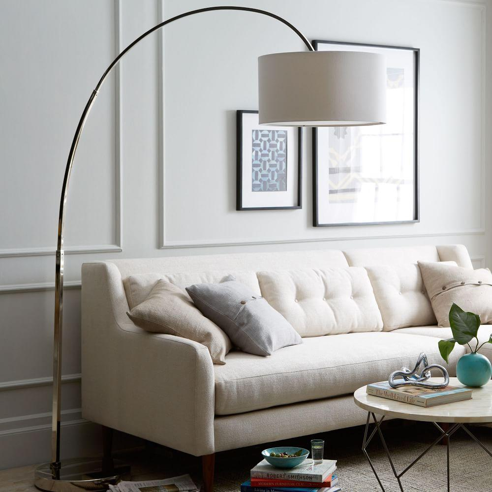 Floor Lamps Living Room.  Overarching Floor Lamp Polished Nickel White west elm UK