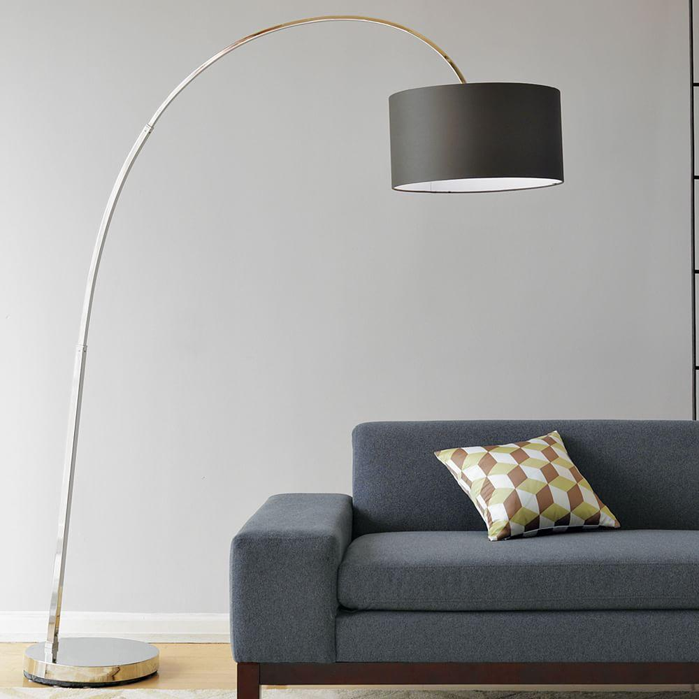 Overarching Floor Lamp Polished Nickel Charcoal West