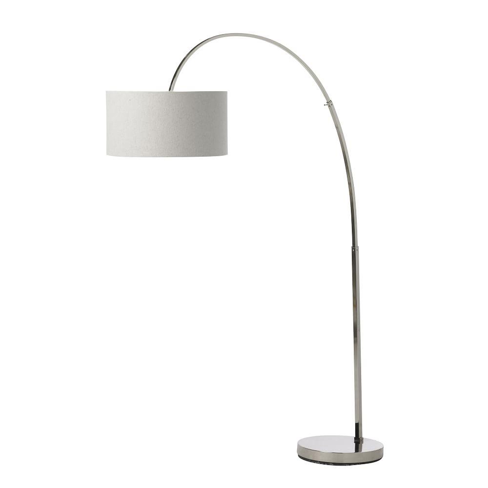 Overarching Floor Lamp - Polished Nickel/White | west elm UK