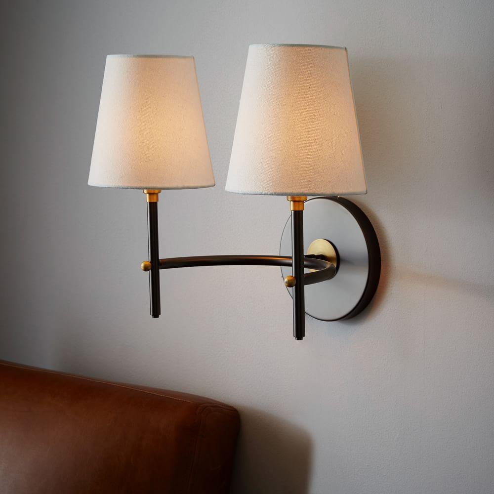 arc mid century sconce double antique bronze west elm uk. Black Bedroom Furniture Sets. Home Design Ideas