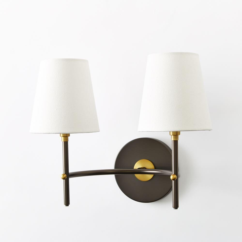 Arc Mid-Century Sconce - Double (Antique Bronze) west elm UK