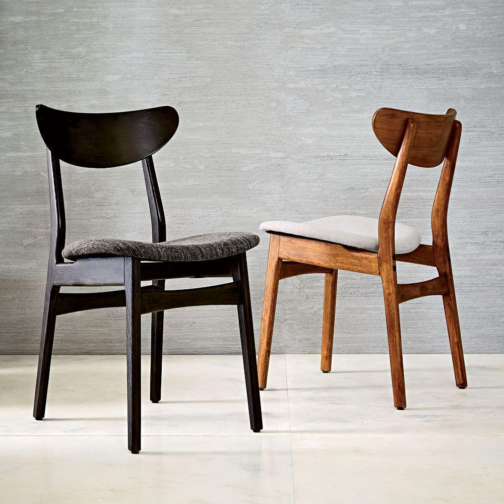 Classic Café Upholstered Dining Chair Walnut West Elm UK - Upholstered dining chairs uk