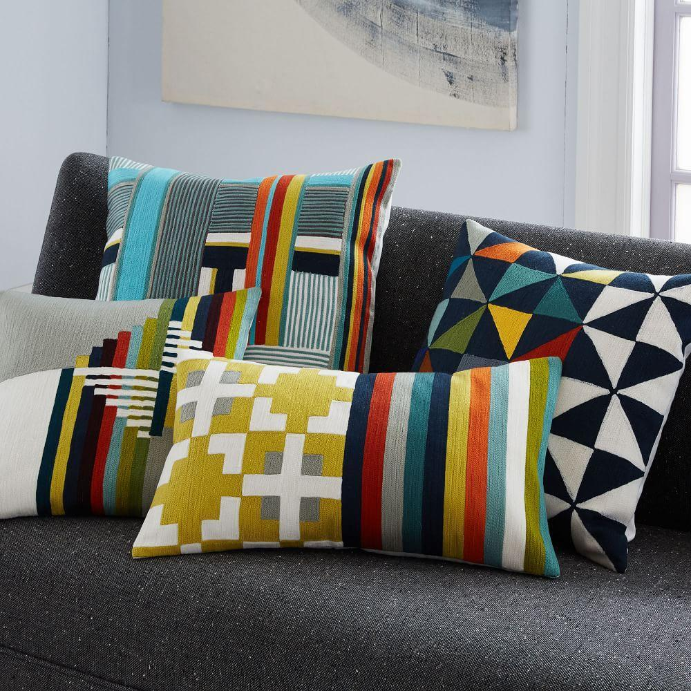 Wallace Sewell Blocks + Stripes Crewel Cushion Cover west elm UK
