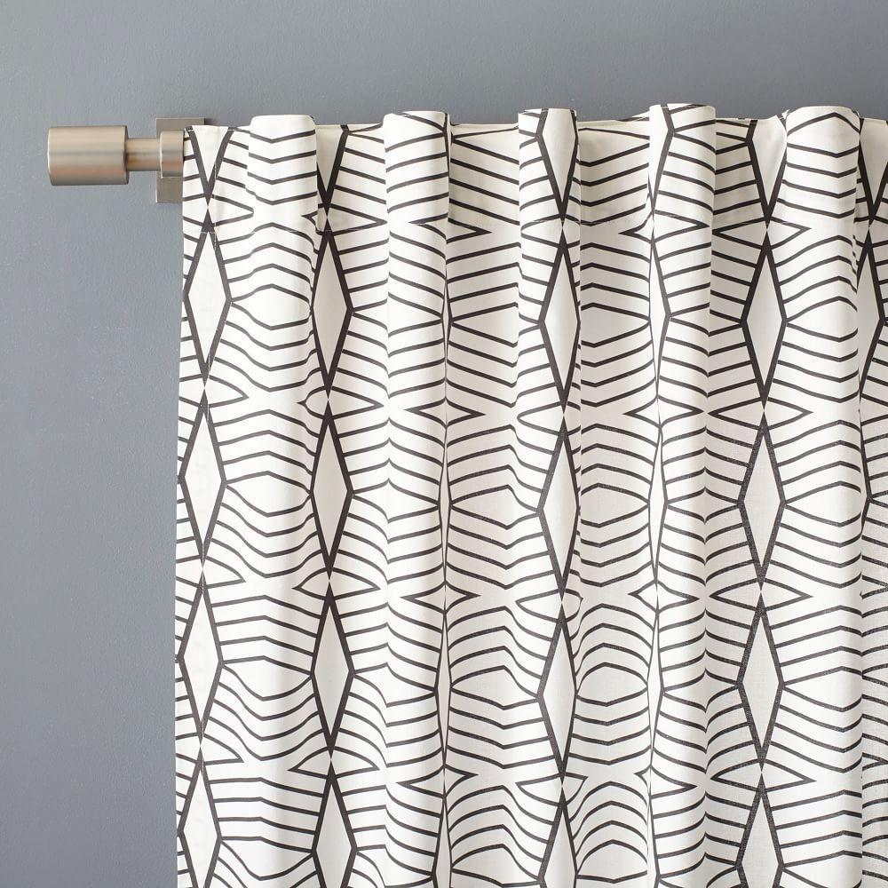 Cotton Canvas Diamond Stripe Curtain Stone White Slate