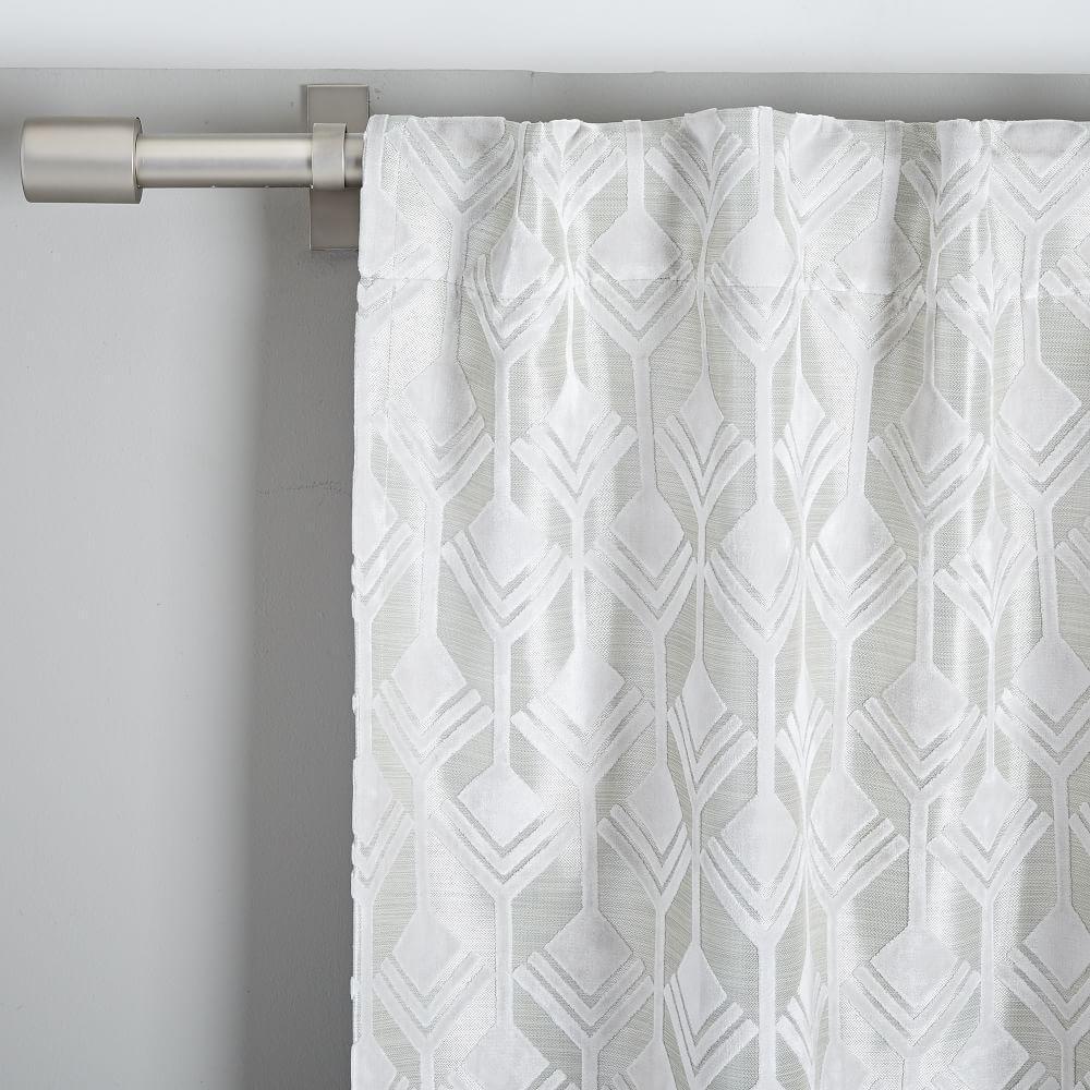 Geo Tile Velvet Flocked Curtain Blackout Lining Frost Grey