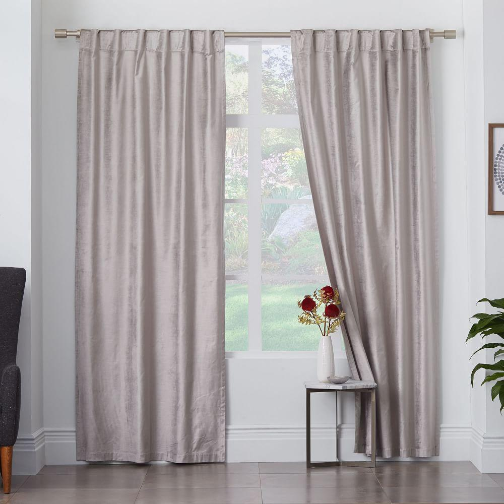 Cotton Lustre Velvet Curtain Blackout Lining Platinum