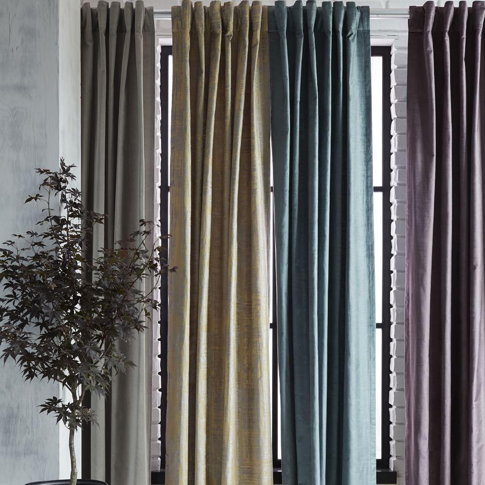 Cotton Lustre Velvet Curtain Blackout Lining Platinum
