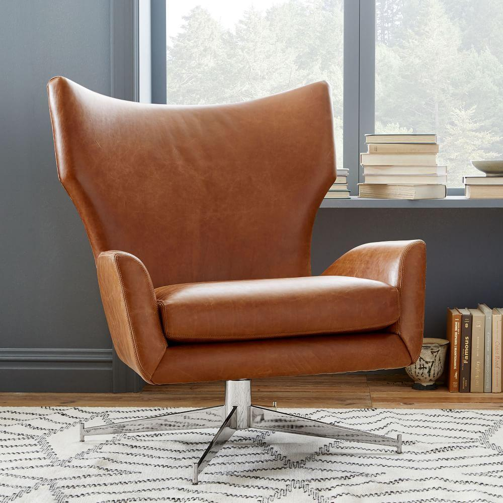 Hemming Leather Swivel Armchair Saddle West Elm Uk