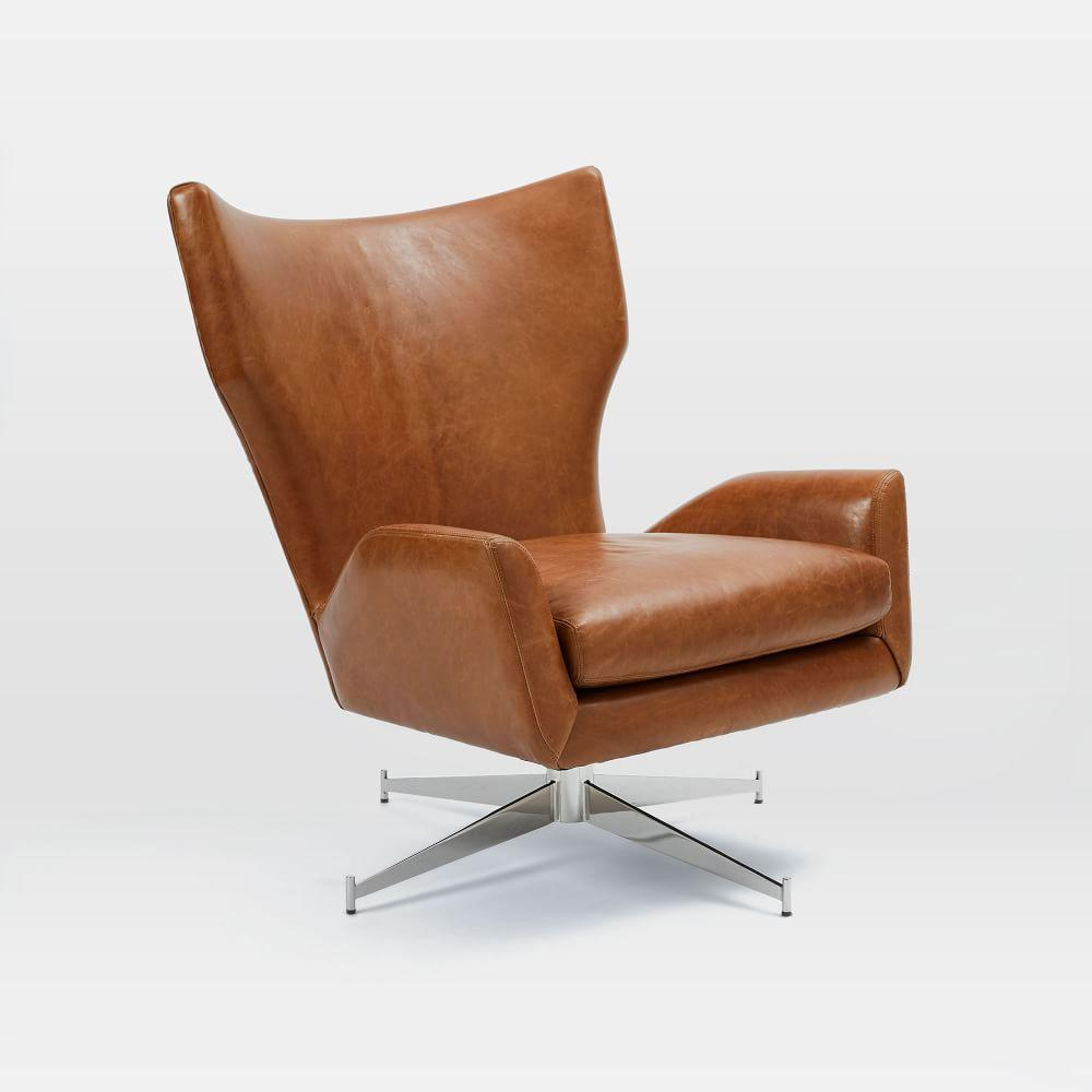Hemming Leather Swivel Armchair - Saddle