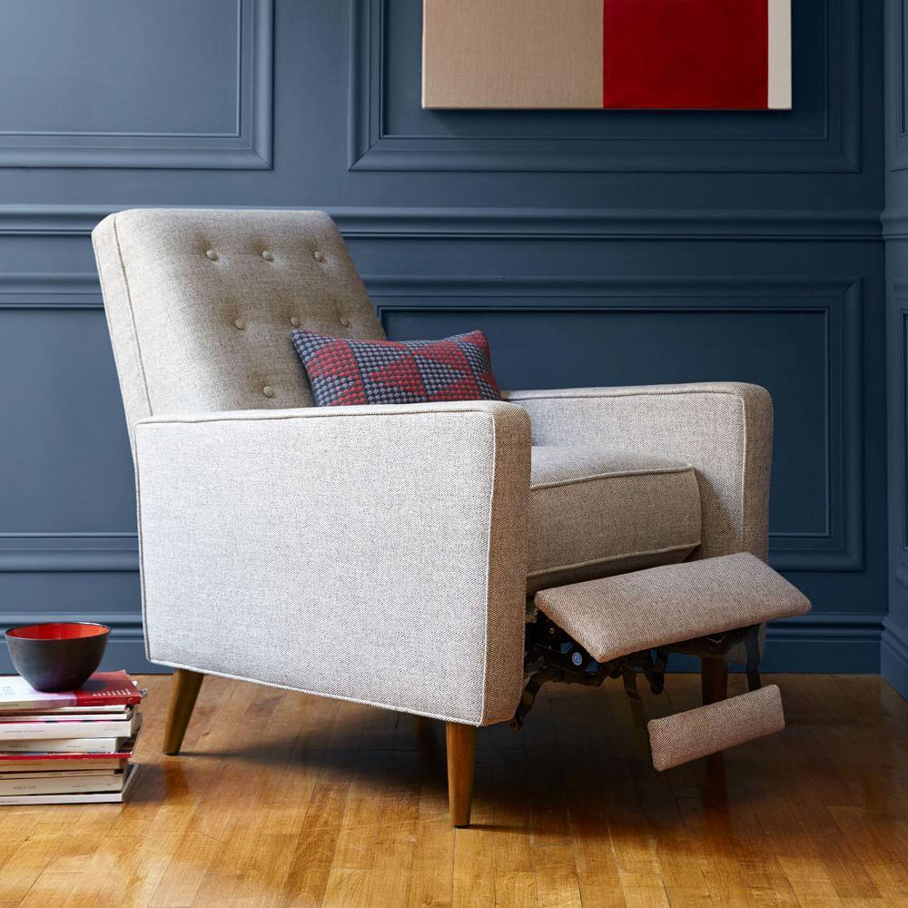 Rhys mid century recliner west elm uk - Reclining dining room chairs ...