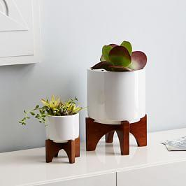 Mid-Century Turned Wood Leg Tabletop Planters