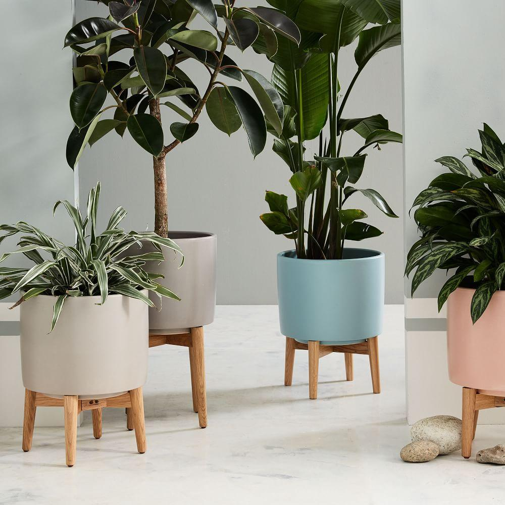 Mid Century Turned Leg Standing Planters Matte West Elm Uk