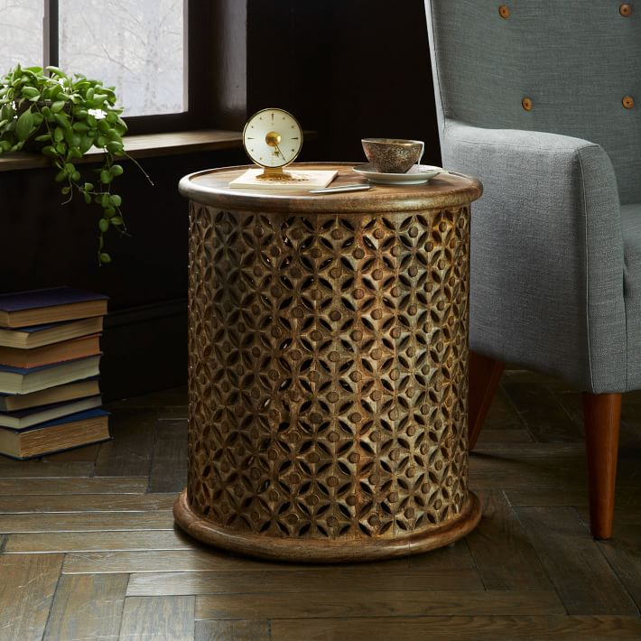 Carved Wood Side Table West Elm UK