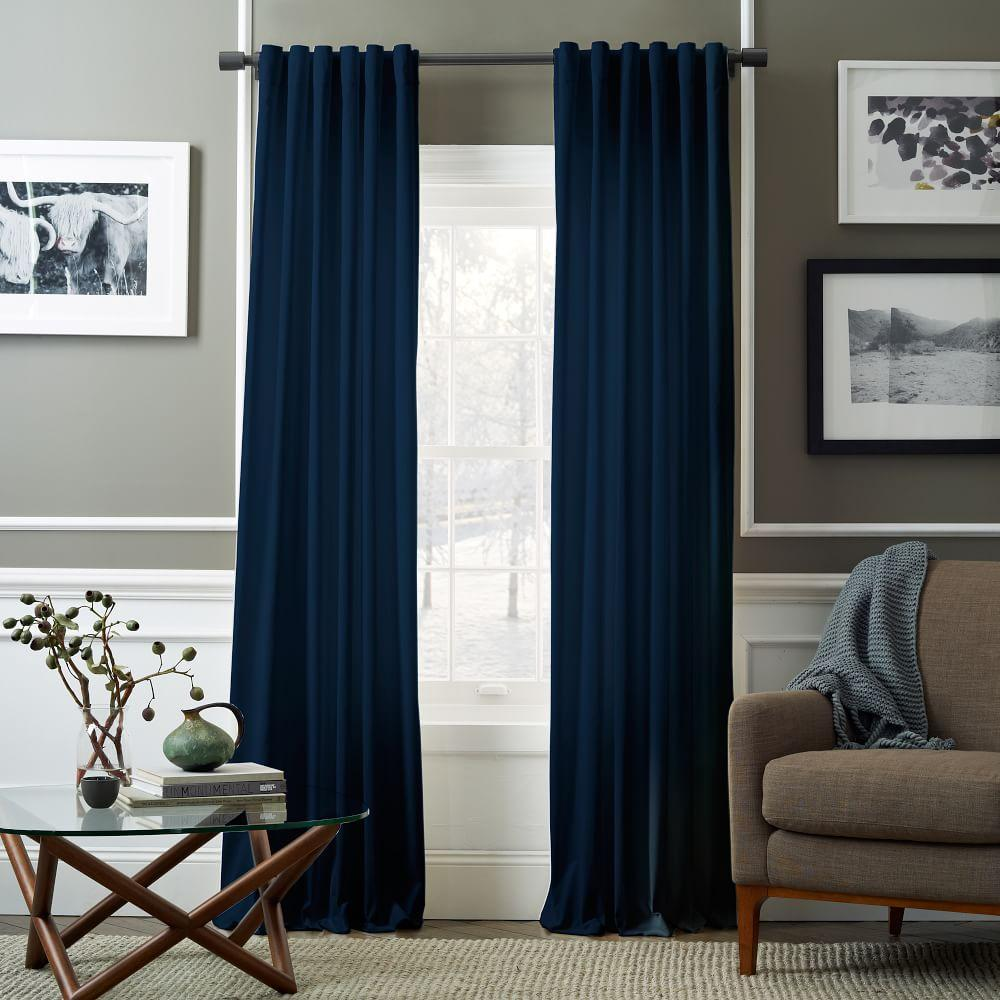 Velvet Pole Pocket Curtain Regal Blue West Elm Uk