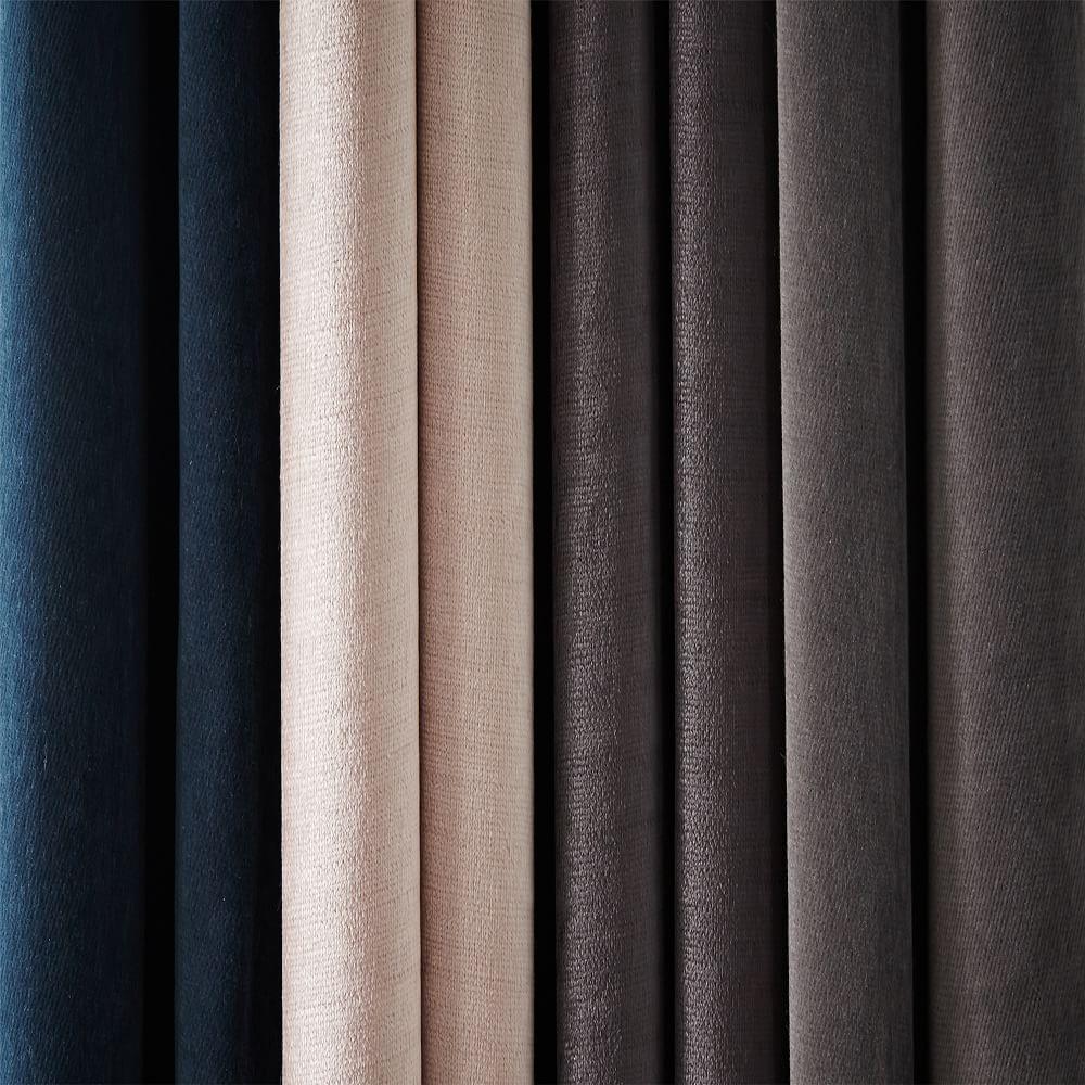 Velvet Pole Pocket Curtain Regal Blue West Elm Uk