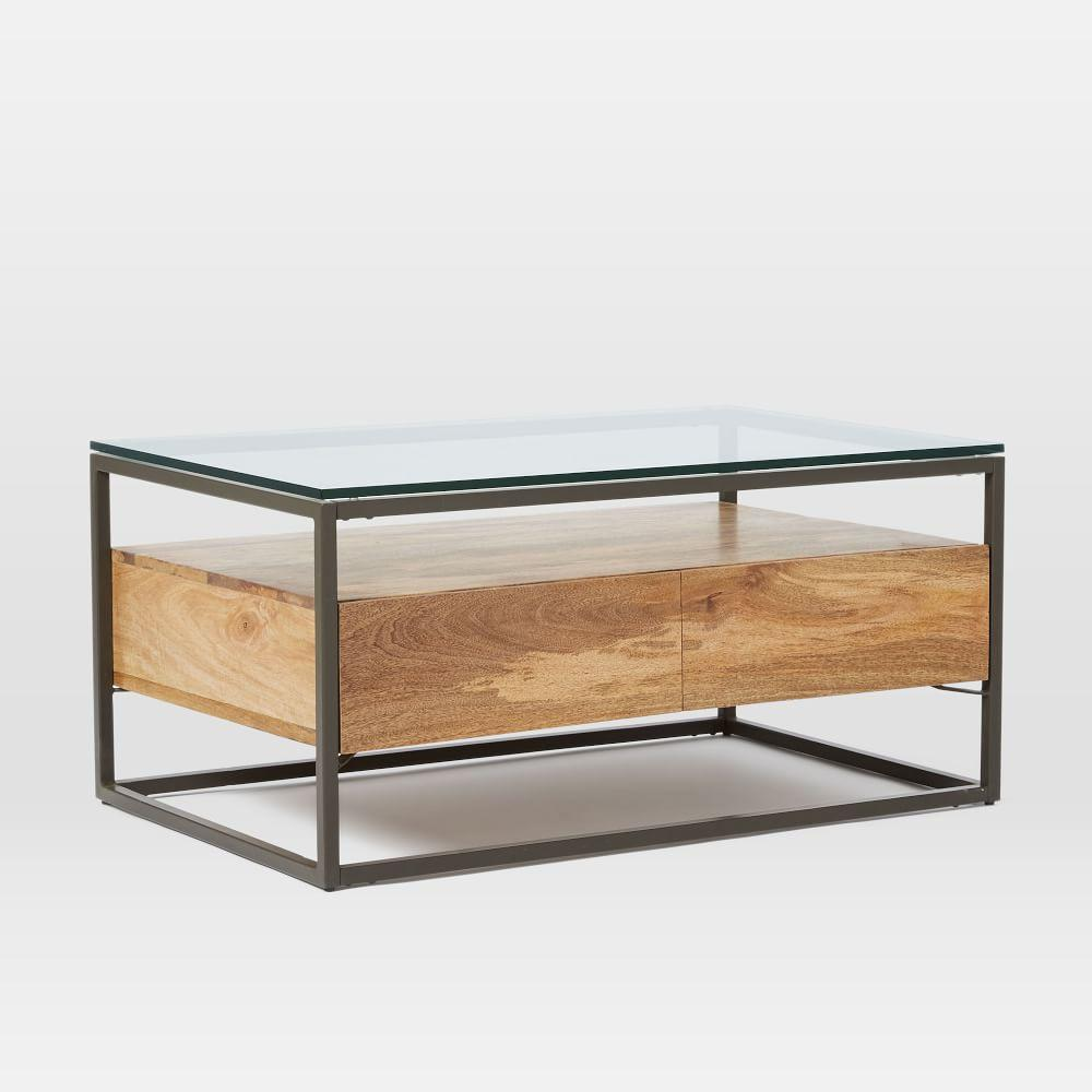 Box frame storage coffee table west elm uk Glass box coffee table