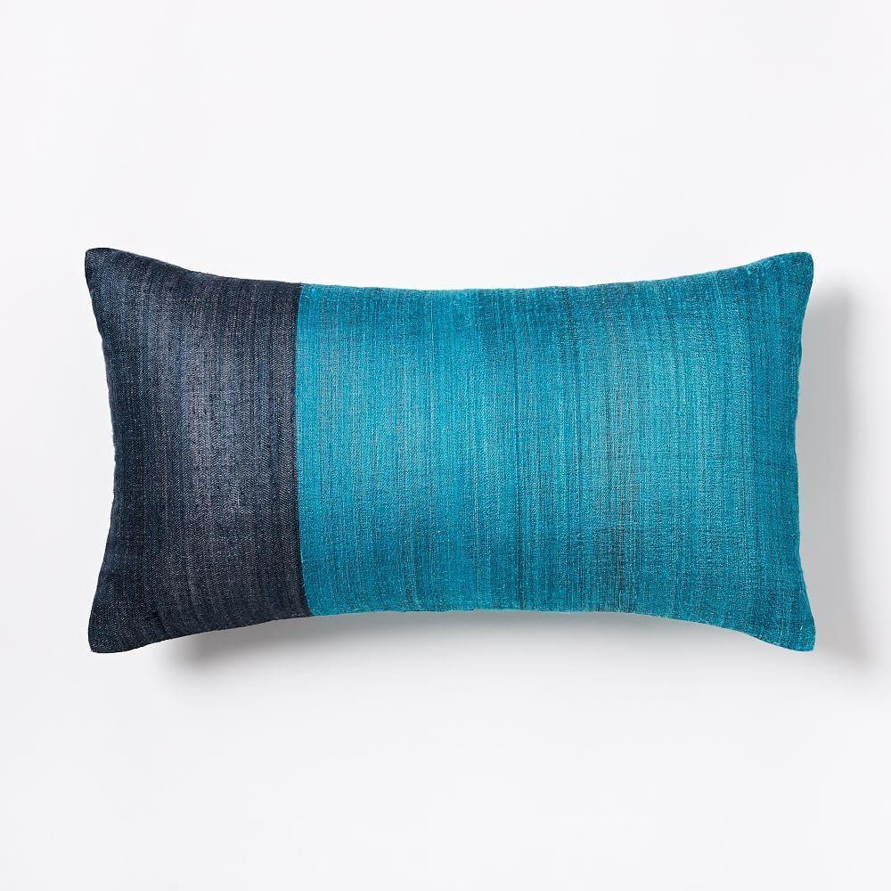 sari silk cushion cover blue teal west elm uk. Black Bedroom Furniture Sets. Home Design Ideas