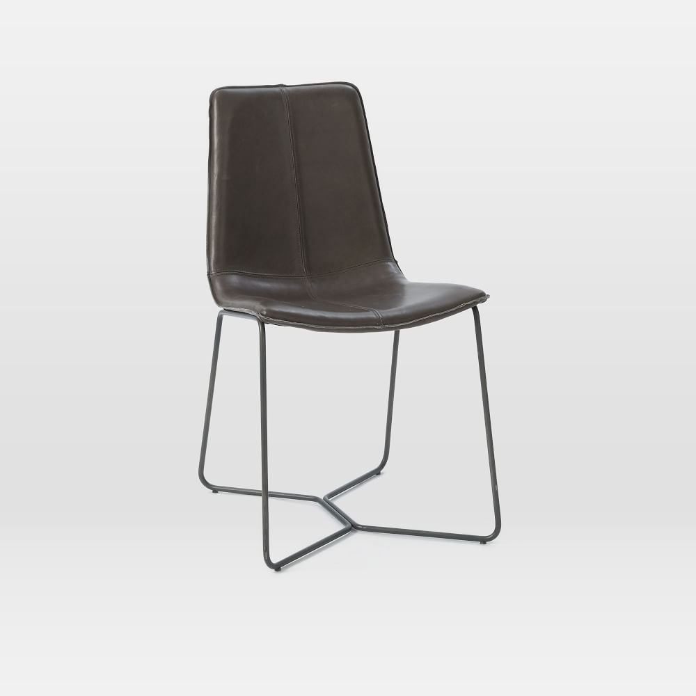Industrial leather dining chair - Leather Slope Dining Chair Charcoal