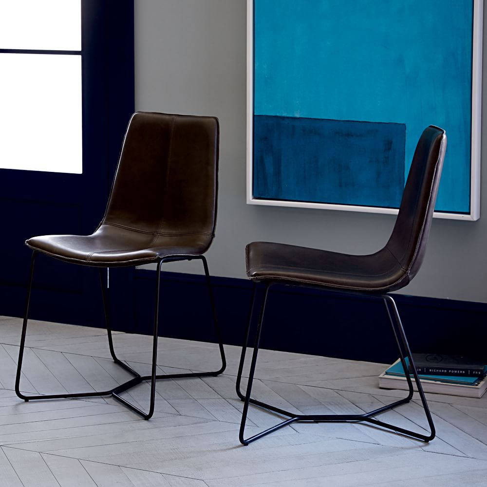 Leather Slope Dining Chair Charcoal West Elm UK - Leather dining chairs uk