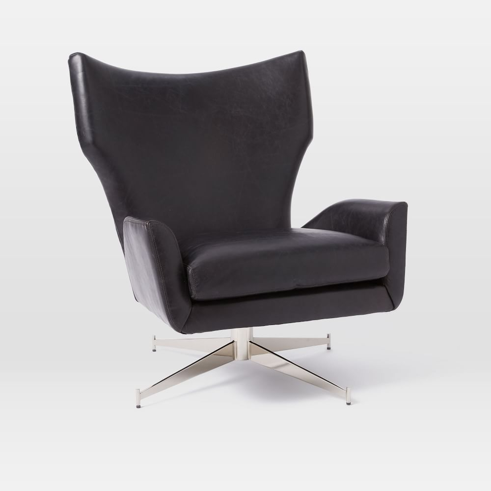 Hemming Leather Swivel Armchair | west elm UK