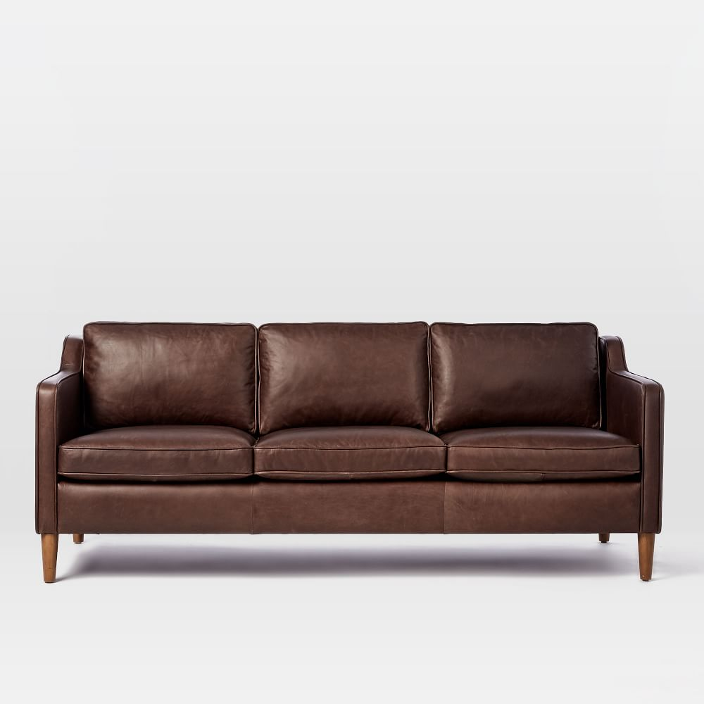 Hamilton leather sofa mocha 206 cm west elm uk for Home style furniture hamilton