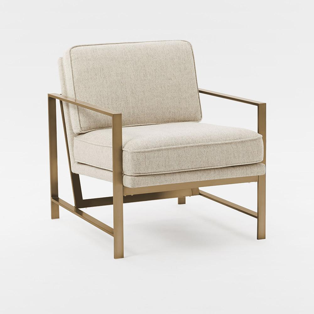 Metal Frame Upholstered Chair Stone Brass West Elm Uk