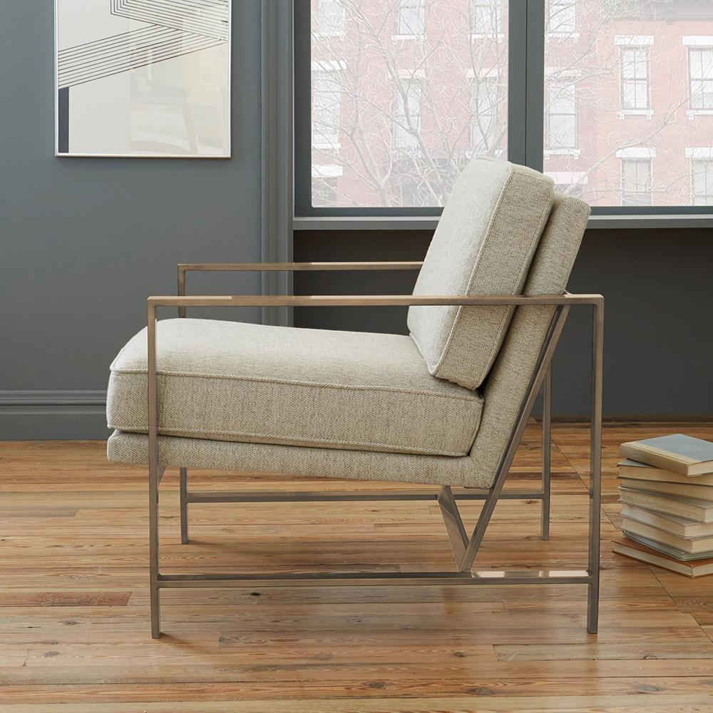Metal frame upholstered chair stone brass