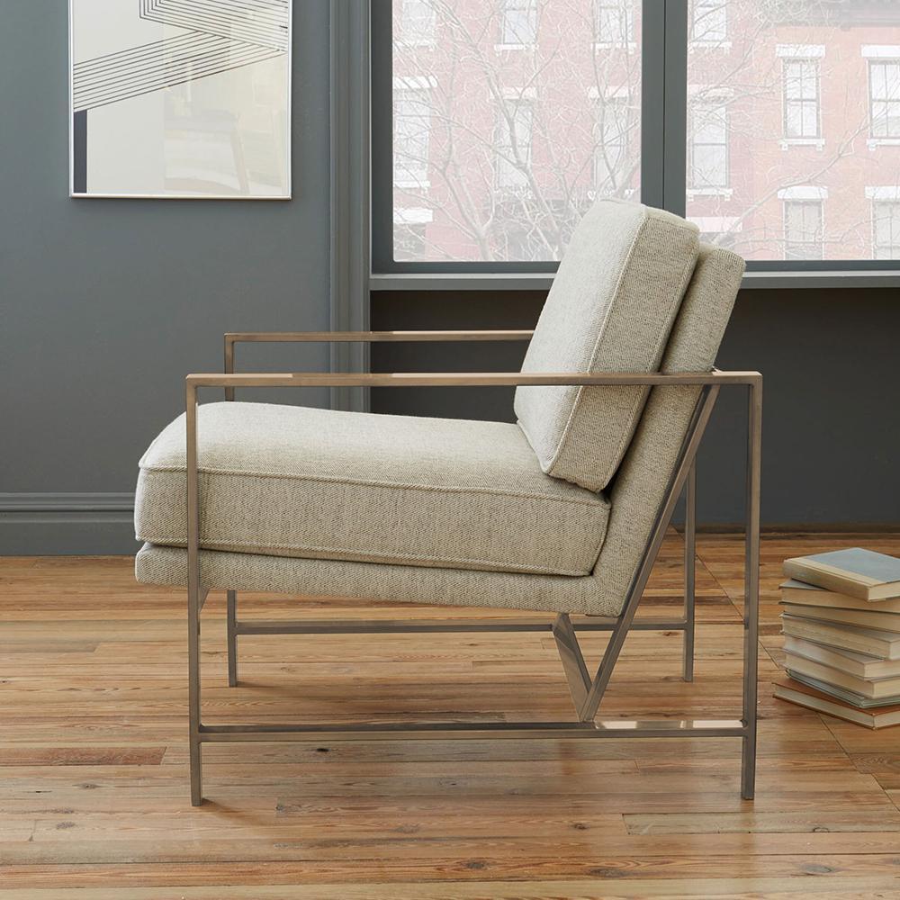 Metal Frame Upholstered Chair - Stone (Brass) | west elm UK