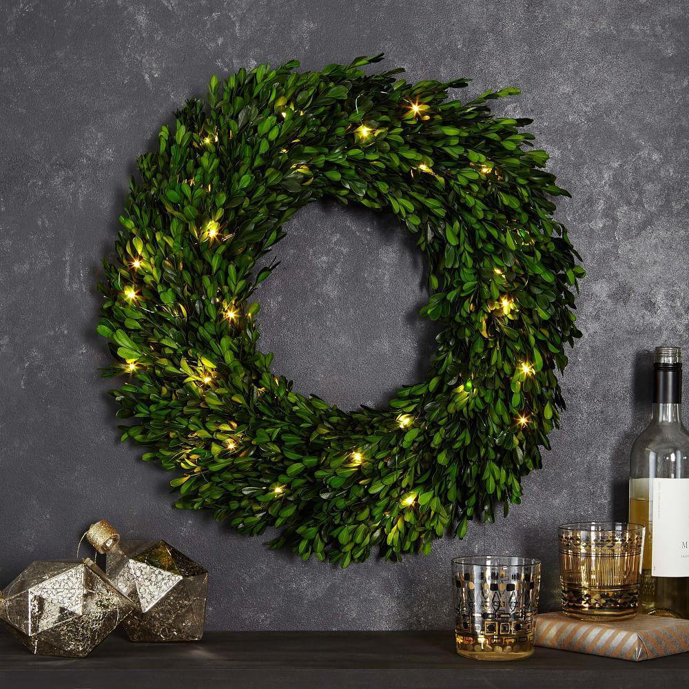 LED Light-Up Boxwood Wreaths
