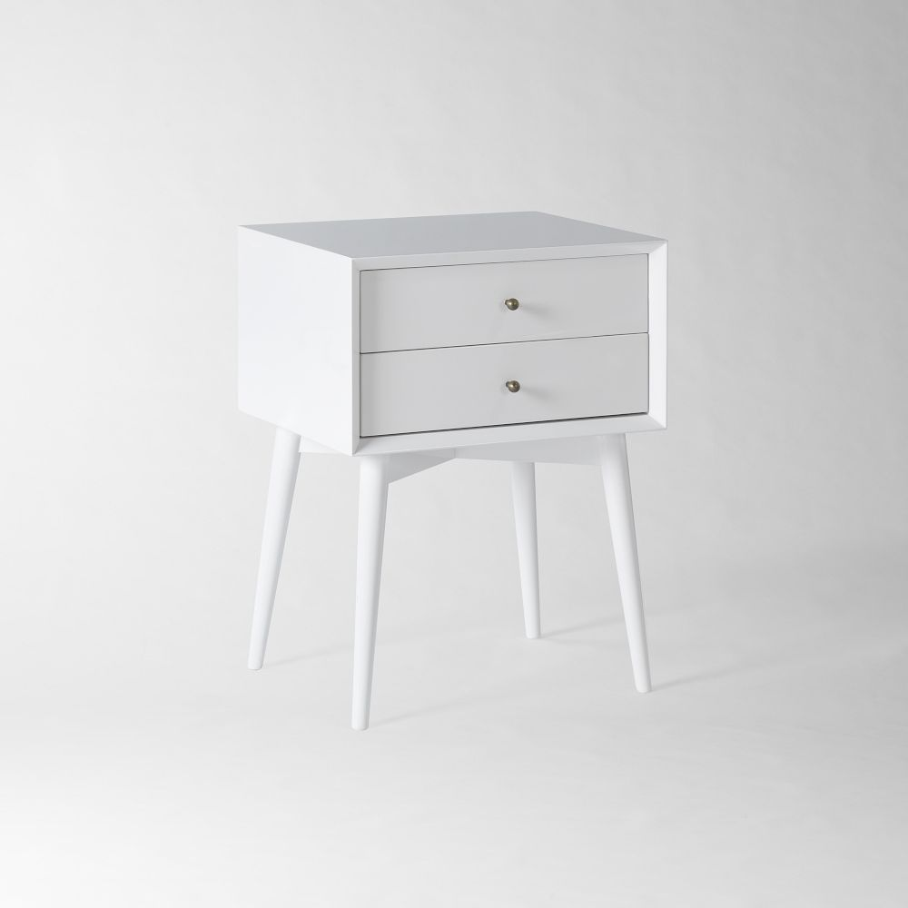 White bedside table - Mid Century Bedside Table White