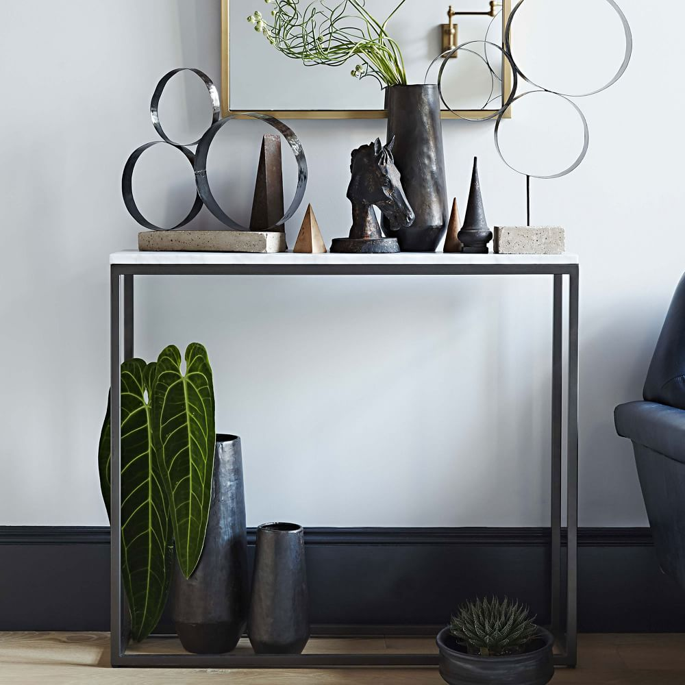 Box frame console marble west elm uk box frame console marble geotapseo Image collections
