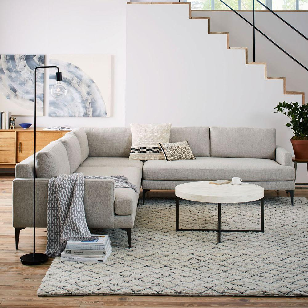 Andes L Shaped Sectional Stone Twill West Elm Uk
