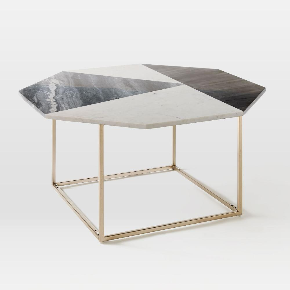 Marquetry marble coffee table west elm uk for West elm geometric coffee table