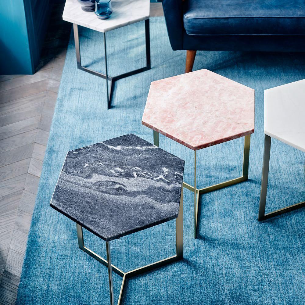 Hex Side Table Antique Brass West Elm Uk