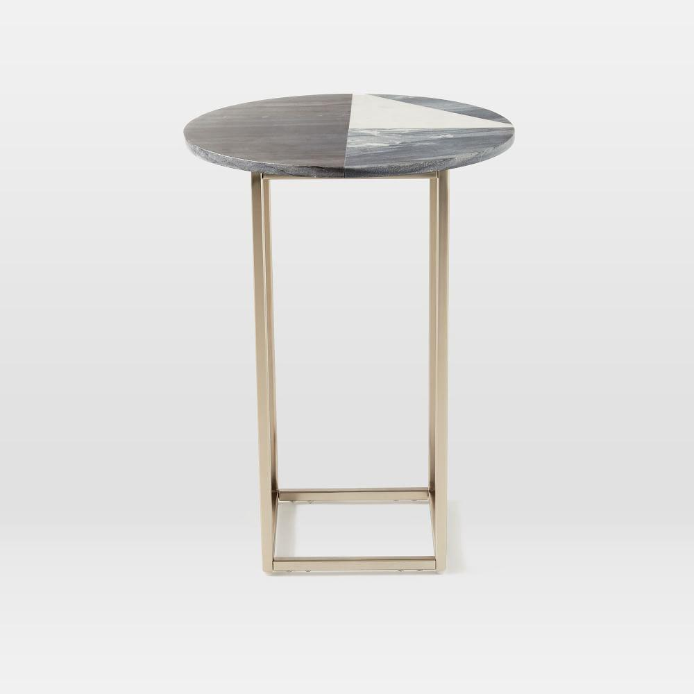 marquetry marble side table west elm uk. Black Bedroom Furniture Sets. Home Design Ideas