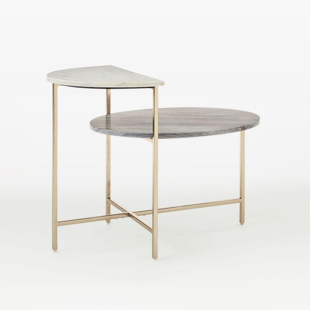 marble geo stepped side table west elm uk. Black Bedroom Furniture Sets. Home Design Ideas