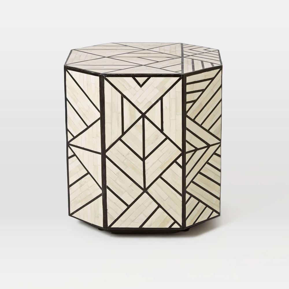 Joshua Bone Inlay Coffee Table: Bone Inlay Side Table