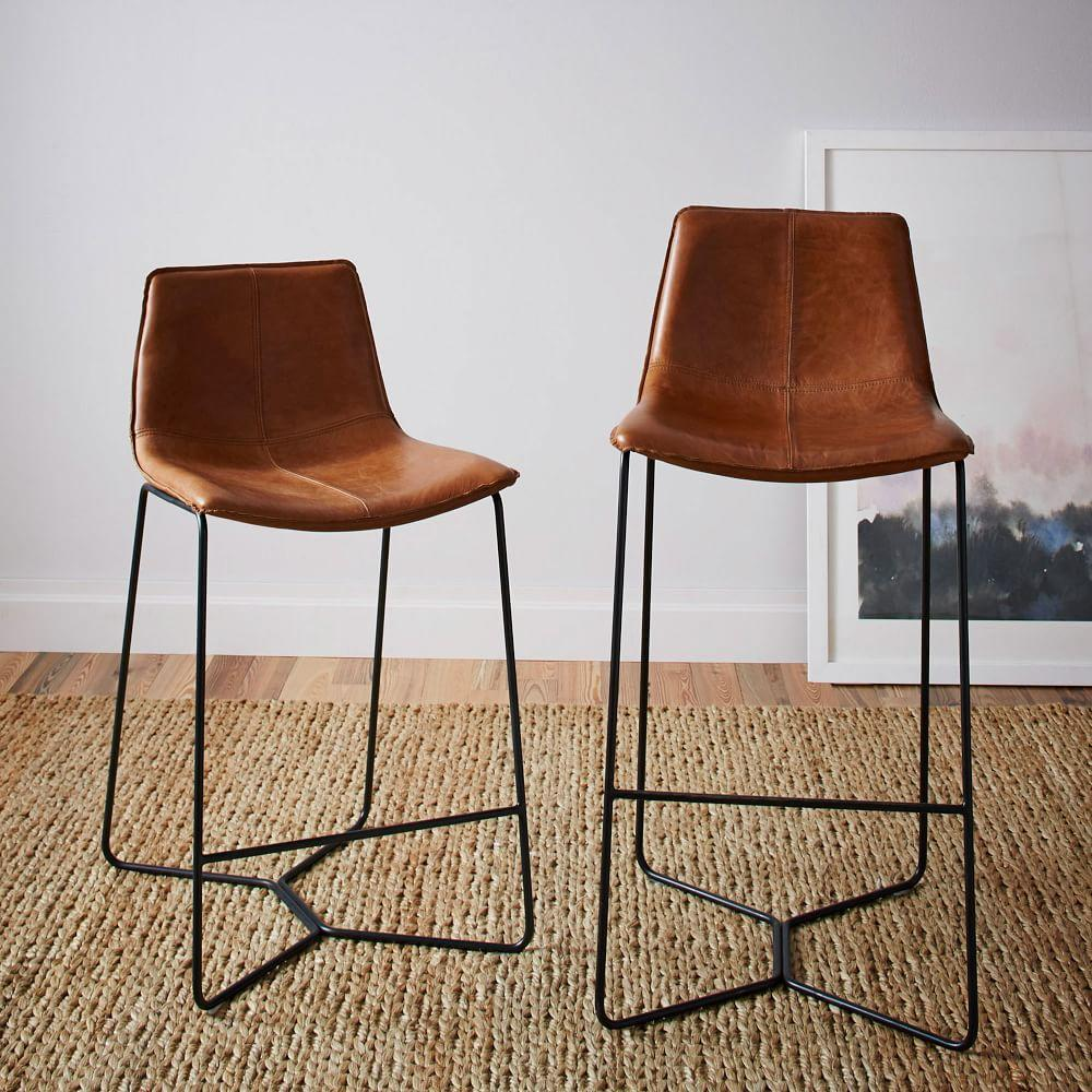 Superb Slope Leather Bar Stool West Elm Uk Caraccident5 Cool Chair Designs And Ideas Caraccident5Info