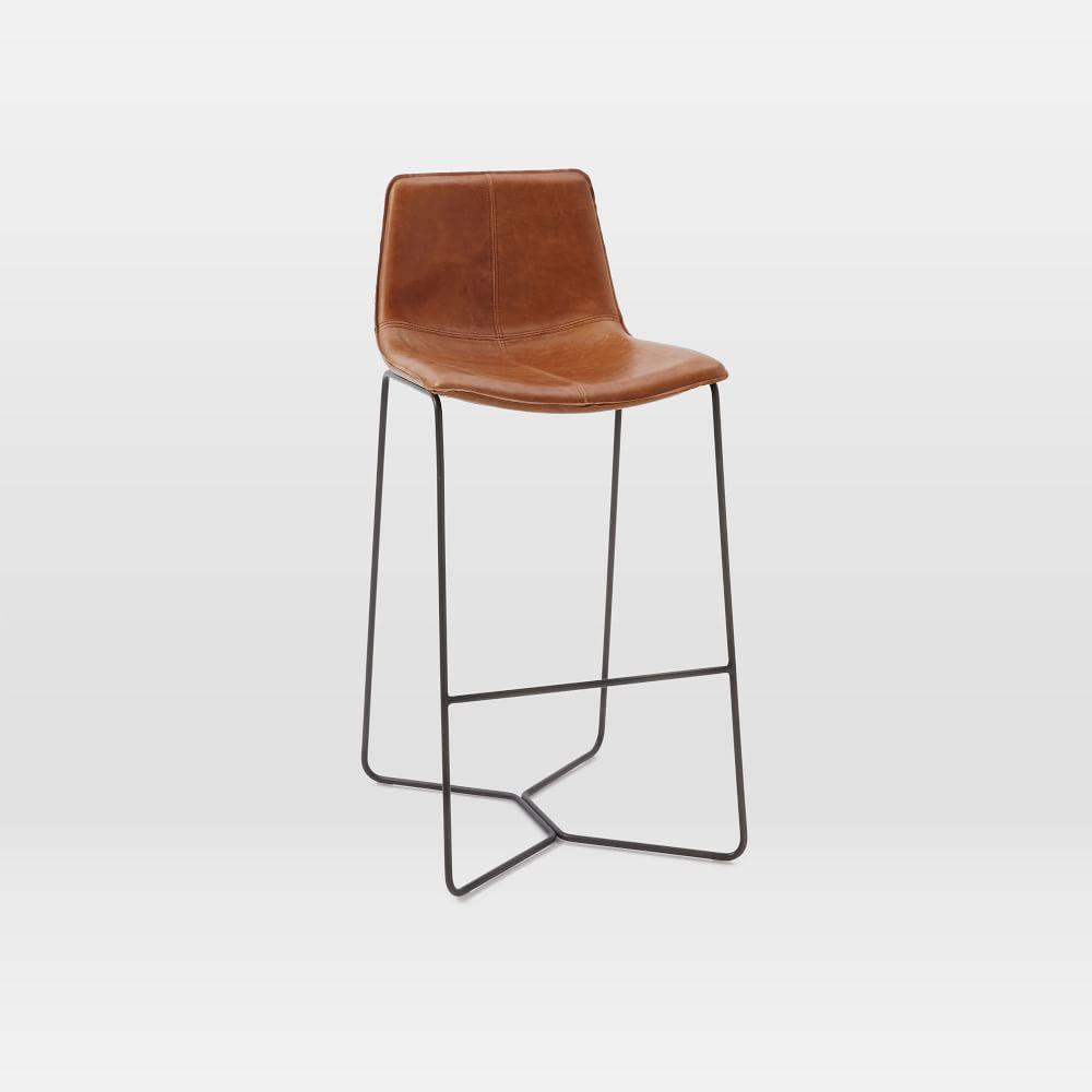 Admirable Slope Leather Bar Stool West Elm Uk Beatyapartments Chair Design Images Beatyapartmentscom