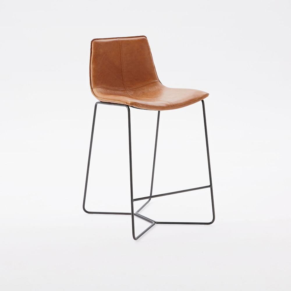 Slope Leather Bar + Counter Stools