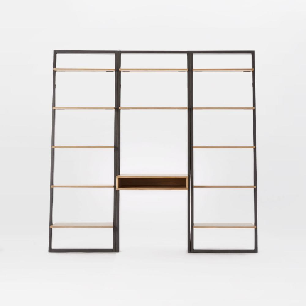 Ladder Shelf Desk + Wide Bookshelf Set (Sand/Stone)
