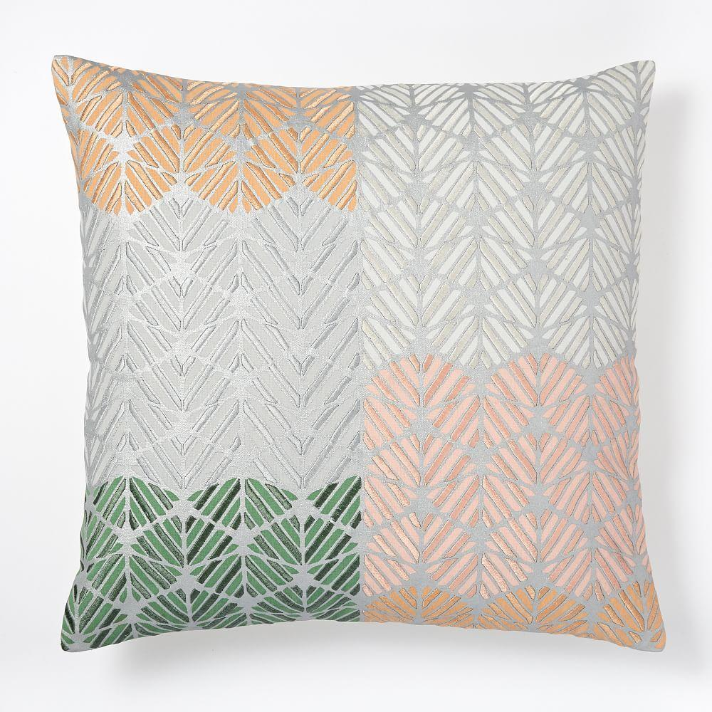 Embroidered geo colourblock cushion cover rose fog West elm pillows