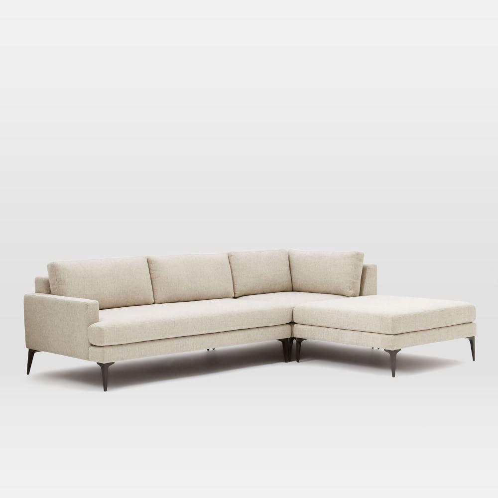 andes 3 piece chaise sectional west elm uk